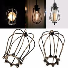 Traditional Abajur Iron Wire Bulb Cage Lamp Shade Holder Guard Shade Industrial Home Light Decor(China)