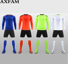 AXFAM Mens Football Sets 2017 Long sleeves Micro elasticity Soccer Jerseys shorts Perfect quality Football uniforms
