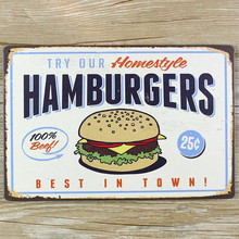Free ship Metal Painting Tin Sign Vintage Plaque Iron Hamburger Picture Restaurant Bar Pub Store Cafe Decoration Wall Sticker