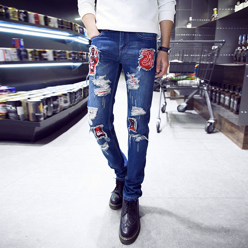 2017 New Arrival High Quality Mens Hole Jeans Famous Brand Ripped Jeans For Men Oversized Casual Denim Pants Homme Hot SaleОдежда и ак�е��уары<br><br><br>Aliexpress