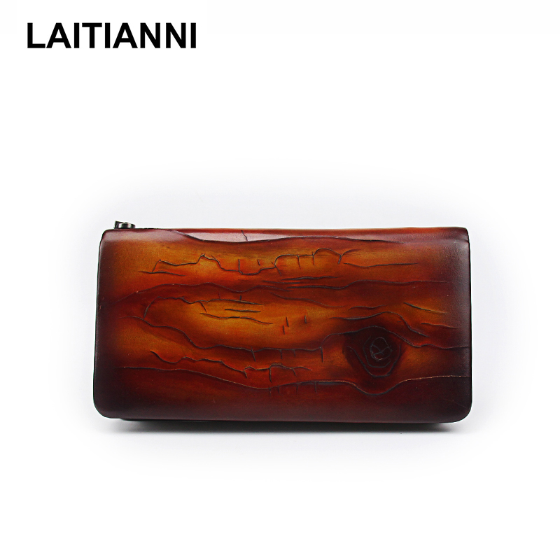 Clutch Women s Wallets Soft Natural Leather Fashion Purses Unisex Big Carve Tree Lines Wallets Bags Men Card Holders Carteira<br>