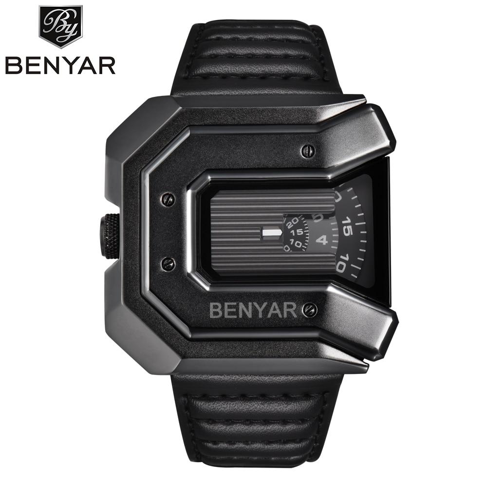 2018 New Top Luxury Brand BENYAR Unique Design Leather Strap Fashion Waterproof Quartz Watch Clock Male Sports Wrist Watch black<br>