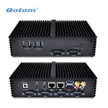 2016 QOTOM Mini PC Q310P with 2 LAN, 6 USB, 2 display port, 6 COM RS232 port, support 3G/4G, X86 Fanless Mini PC Linux