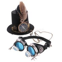 Novelty Steampunk Goggles Glasses with Victorian Miniature Hat Halloween Fancy Dress Up Lady Mini Top Hat Funny Goggles Costume(China)