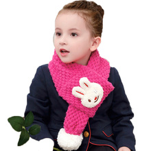 Retail Children Girls Cute Smile Little Rabbit Head Knitted Bobbles Scarf Solid Pink Kid Kids Winter Warm Scarves WJ8331