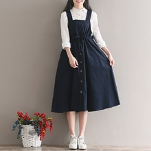 2018 Spring Summer Women Sleeveless Vintage Dress Navy Blue Cotton Linen Casual Loose Vestidos Spaghetti Strap Female Dress 2XL(China)