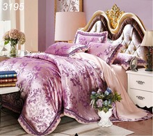 Purple golden tribute silk jacquard 4pcs bedding set luxury lace silk bed linens comforter cover bed sheet pillowcases 3195