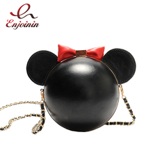 2017 Cute mini bow black pu leather round ladies chain shoulder bag handbag party purse female crossbody mini messenger bag(China)