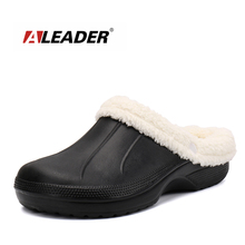 ALEADER Winter Warm Slippers Mens Fur Lined Crocus Clogs Waterproof Garden Shoes Removable Lining House Slippers For All Seasons(China)