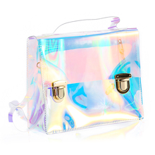 Women Summer Beach Bag PVC Clear Transparent Bags Small Tote Bag Hologram Handbags Women Famous Brand Women Shoulder Bags(China)