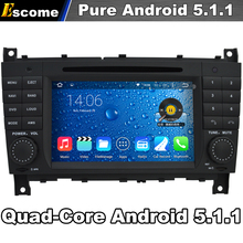 4 Cores Quad Core Pure Android 5.1 Car DVD Player For Mercedes Benz C Class W203 C230 C240 C280 2004-2007 With 2G ROM GPS