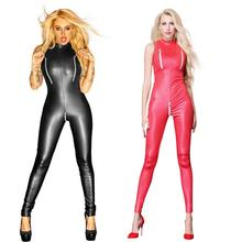 Buy Black Red Zipper Open Crotch Bust Faux Leather Bandage Bodysuit Women Sexy Sleeveless Jumpsuit Wetlook Latex Catsuit Plus Size