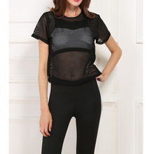 Summer Black Mesh T Shirt Women O-neck Solid Crop Tops Casual Hollow Out Perspective Black T-shirt Tops S-L 2 Colors W710