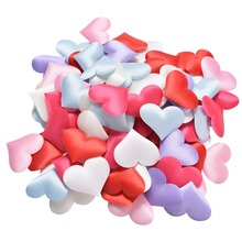 90pcs/Pack DIY Satin Heart Shaped Fabric Artificial flower petals Wedding Party Decor Scatter Confetti