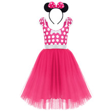 2pcs Set Cute Child Minnie Mouse Cosplay Outfit for Photo Shoot Kids Girls Birthday Polka Dot Minnie Dress Up Princess Dress(China)
