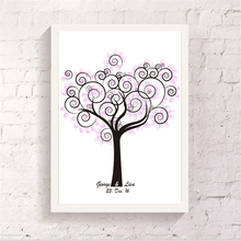 DIY Customize Tree Printed Canvas Guest Attendance Signature Book Finger Graffiti Handmade Art Drawing Ornaments for Party Event(China)