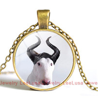 Bull Terrier Dog Cute Animal Photo Glass Long Chain Necklace Steampunk Silver Pendant Jewelry Best Gift for Friend Drop Shipping