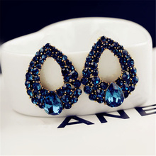 Hot Sale Luxury Simulated Sapphire Waterdrop big earrings Blue Crystal Oval Stud Earrings for Women Piercing Jewelry wholesale