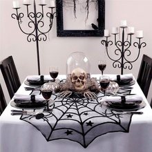 102cm Halloween Spider Web Tablecloth Black Round Lace Table Topper Covers for Halloween Party Decoration(China)