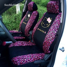 Universal Car seat Covers Red heart Cartoon Universal Hello Kitty Car Seat Covers Car interior Accessories for 5 seat cars-10pcs