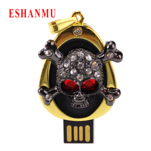 Real crystal skull head usb flash Drive 4G 8G 16G 32G USB2.0 Card Memory Stick Drive u Disk pen drive Hot Selling Bulk Cheaper(China)