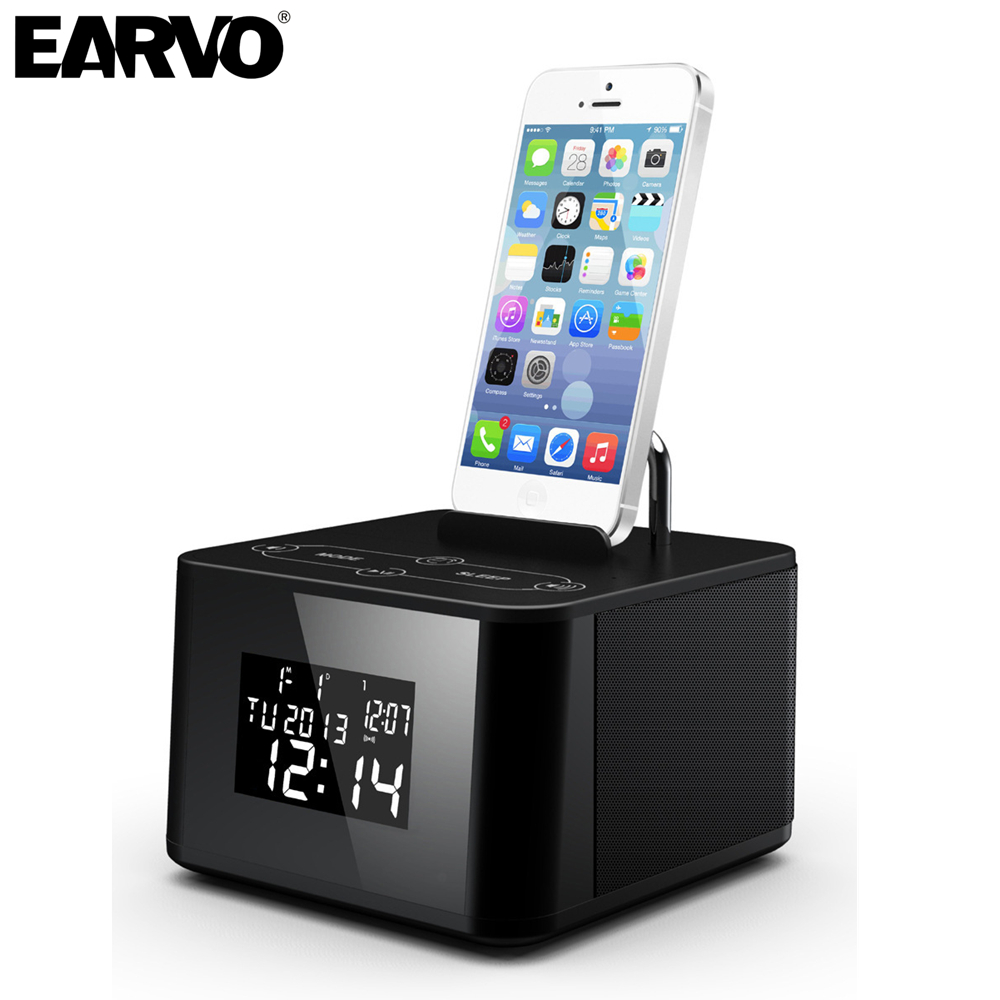 Portable Mini Bluetooth Speaker Music Audio Subwoofer Speakers Clock with FM Radio USB AUX  for iPhone 5 6 7 Camping Hiking Bed<br><br>Aliexpress