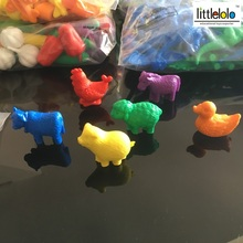 baby toys montessori learning figures Imitate toys of pets family animals like duck cow cock pig sheep and horse 6pcs/set(China)
