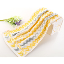 Soft Cotton Face Towel Yellow Wave Striped Practical Absorbent Bathroom Home Textile 33x73cm(China)