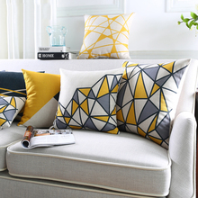 Wholesales Linen Pillow Cover Geometric Yellow Grey Triangle Block Cushion Cover Home Decorative Pillow Case 45x45cm/30x50cm(China)