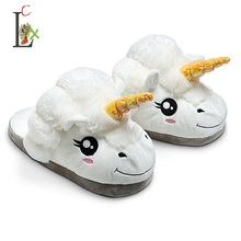 New Winter Indoor Slippers Plush Home Shoes Unicorn Slippers for Grown Ups Unisex Warm Home Slippers Shoes (China)