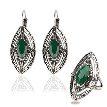NEW 2pcs/set Vintage Ethnic restoring black/green ancient ways Ancient costume wedding earrings ring jewelry set free shipping