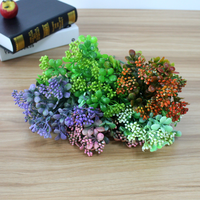 Artificial Plastic Branch Flower Wedding Home Decor Garden Artificial Plants Fake Plastic Milan Grass Foliage Plant Tree (12)