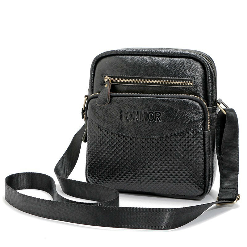 Brand Cow Genuine Leather Men Crossbody Shoulder Bags Male Vintage Small Square Design Travel Crossbody Shoulder Bag 2018<br>