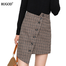 Buy RUGOD 2018 New Spring Winter Fashion Plaid Skirt Skirts HIgh Waist Button Womens Irregular A-line Vintage Mini Skirt for $15.65 in AliExpress store