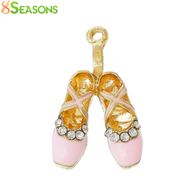 8SEASONS Lovely Charm Pendants Ballet shoes Gold color Clear Rhinestone Pink / Mauve / Blue Enamel 26 x 16mm, 5 Pcs