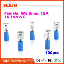 100pcs/lot 6.3 plug FDD2-250 Blue Female Quick Disconnect Cable Wire Splice Insulation Terminal Connector 1.5-2.5mm2 16-14AWG