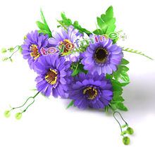 Artificial Chrysanthemum Daisy Home Wedding Bouquet Silk Flower Decor 6 heads 33x18cm(China)