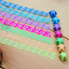 210PCS Luminous Star Paper Clover Pattern Folded Origami Stars Paper Strips Making Star Gift DIY Manual Paper Pattern Stacker