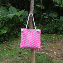 Free Shipping Quatrefoil Beach Tote With Rope Handle, Wholesale Microfiber Quatrefoil Aqua and Pink Tote  DOM1010139