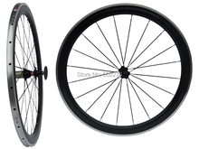 WS-CW025 : 3k Carbon Glossy Cycling Road Bike Clincher wheelset 50mm 700C Bicycle Wheel Rim with Alloy Brake Surface