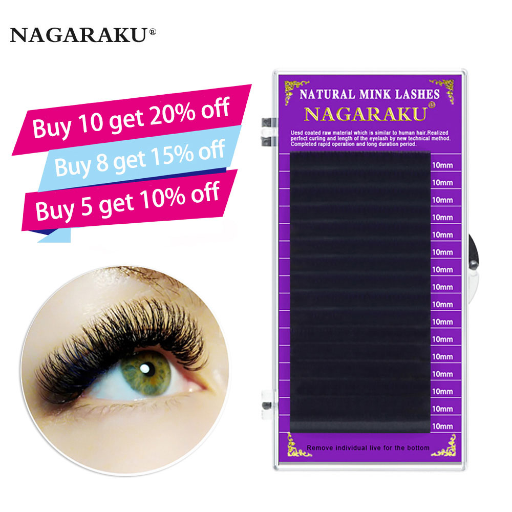 NAGARAKU high-quality faux mink eyelash extensions individual eyelashes false eyelashes J B C D soft and natural eyelashes(China)