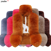 Yuzhe Premium Long Wool Luxury Car Seat Cover Universal Fit Most Cars SUV Truck Gray Car Seat Cushions 1 Pcs fur seat covers