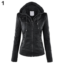 Fashion Women Convertible Collar Faux Leather Coat Detachable Hooded Jacket