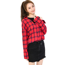 Korean 2017 new off shoulder fake two piece asymmetry blouse blusas long sleeve plaid shirt tops loose women autumn clothes