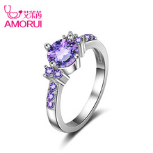Buy AMORUI Purple AAA Cubic Zircon Rings Women Silver Color Wedding Rings Female Cute Lovers Engagement Ring Jewelry Bijoux Gift for $2.58 in AliExpress store