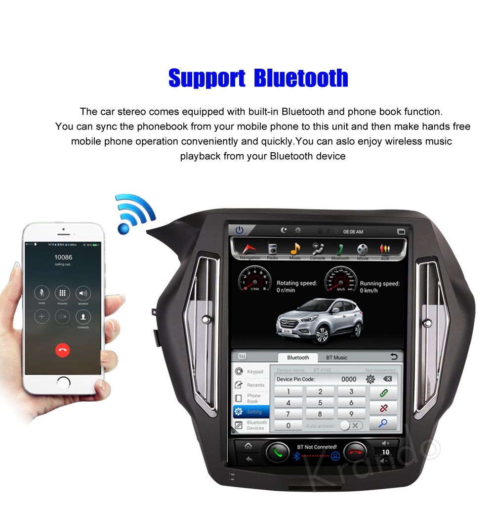 Krando Vertical screen android car radio multimedia for honda accord 9 screen navigation with gps system