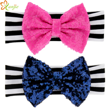 "2015 New infantile girls Elastic Cotton Headband Popular 5"" Gold Sequins Bow White/Black Striped Kids DIY Hair Accessories"