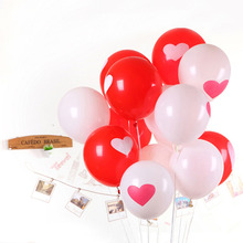 50PCS Lovely Round Heart Ballons Valentines Red Balloons White Heart Latex Balloons Wedding Engagement Propose Marriage Balloons