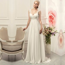 Buy 2017 Simple line Chiffon Wedding Dresses Sweetheart Spaghetti Straps Sweep Train Lace Bridal Gown Pregnant vestido de noiva for $94.91 in AliExpress store