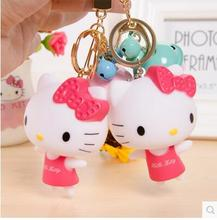 Cartoon Hello Kitty Vinyl PVC Home Car Plastic Key Storage Case Holder With A Bell(China)